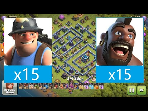 CoC TH13 Hybrid Attack (Miner Hog) Strategy - YouTube