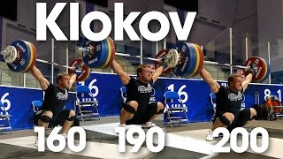 Dmitry Klokov 160kg, 190kg, 200kg Snatches 2014 Worlds Training Hall