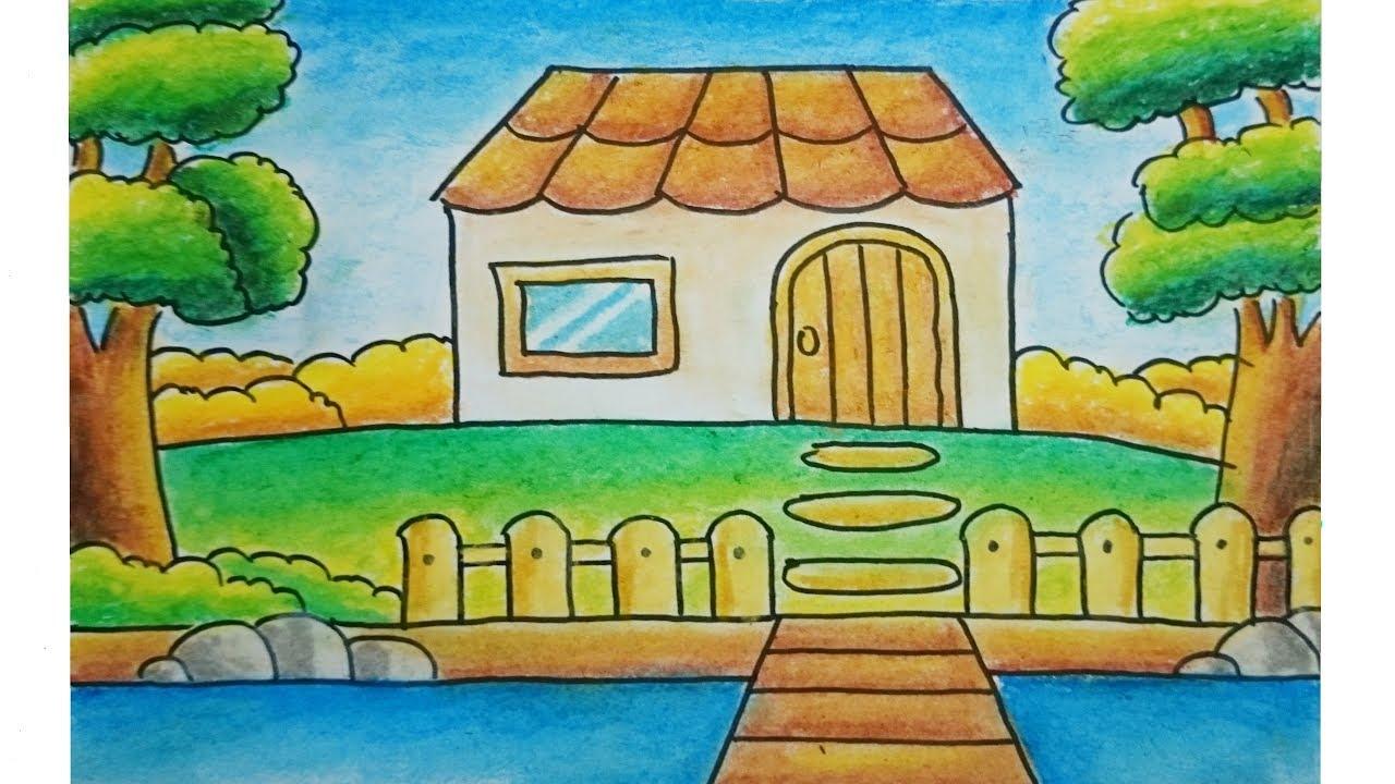 Cara Menggambar Dan Mewarnai Pemandangan Alam Rumah Dan Sungai Dengan Gradasi Oil Pastel Youtube