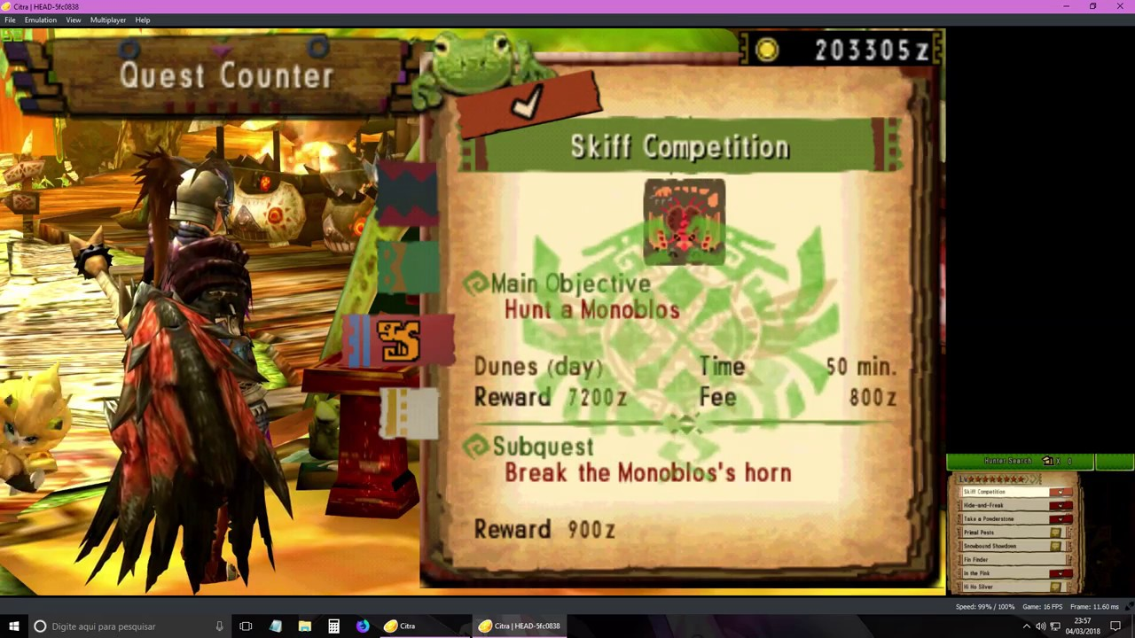 Monster Hunter 4 Ultimate [MH4U] Citra 3DS (v165)- Test Nvidia Settings  (Performace and Quality)