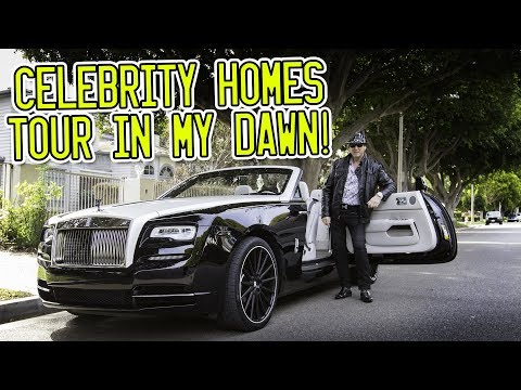 Celebrity homes tour around Beverly Hills in a Rolls Royce D