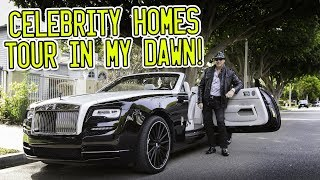 Celebrity homes tour around Beverly Hills in a Rolls Royce Dawn!