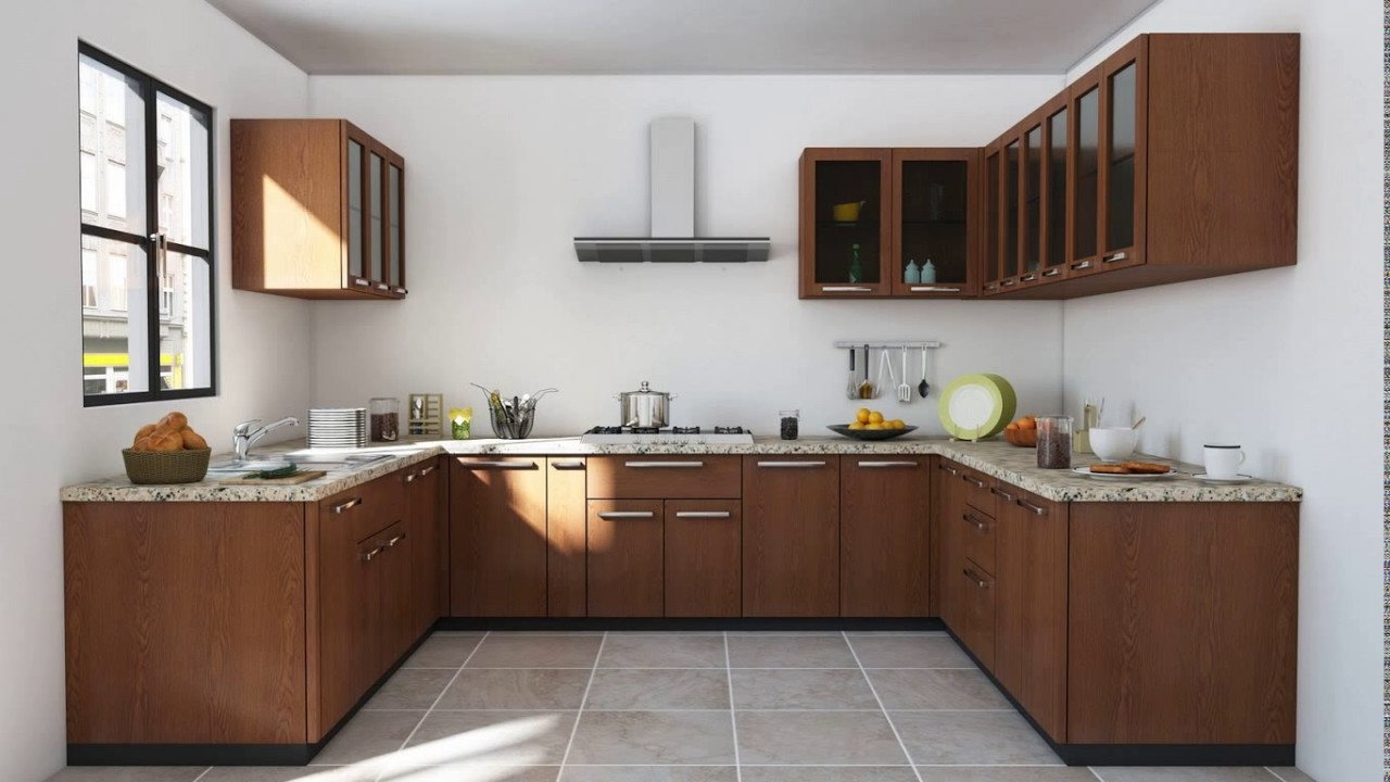 Indian modular kitchen design u shape youtube for Best material for kitchen cabinets in india