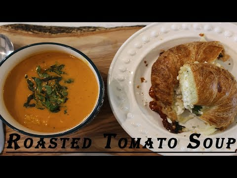 Creamy Roasted Tomato Soup with Grilled Cheese Croissant