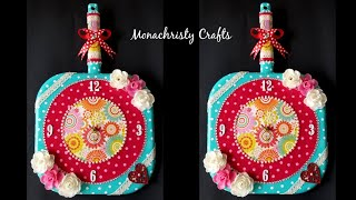 Mixed media work on old Frying pan | how to make clock | best out of waste