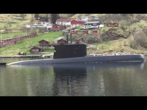 The Ula-class submarine in Geirangerfjord