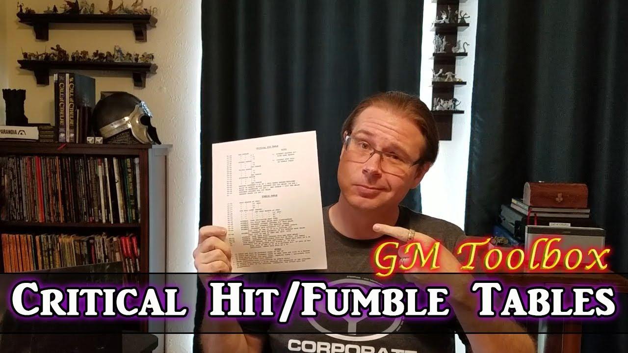Critical Hit Fumble Tables