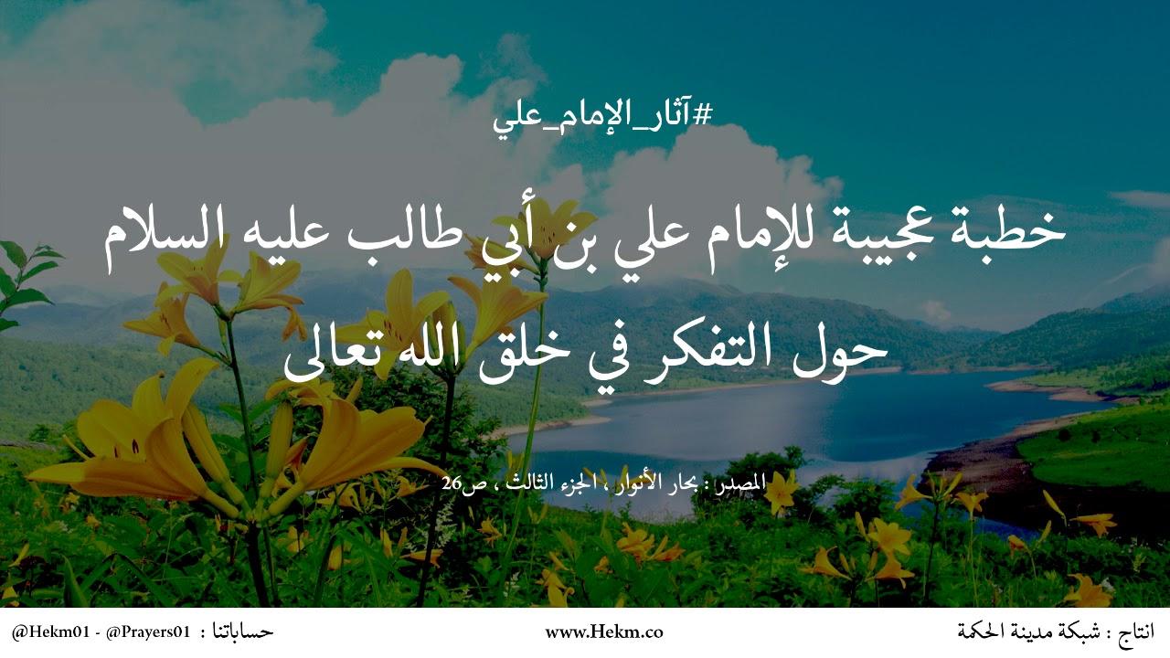 خطبة عجيبة حول التفكر في خلق الله تعالى للإمام علي بن أبي طالب عليه السلام  - YouTube