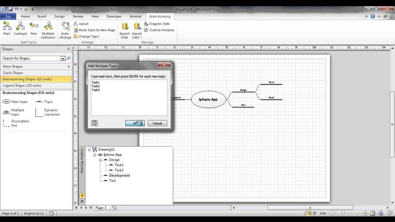 Create a brainstorm diagram or mind map in visio youtube create a brainstorm diagram or mind map in visio pooptronica Images