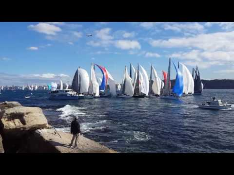 Sydney to GoldCoast Yacht Race. Pile up at the start!