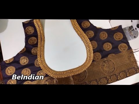 Blouse Back Neck Design Attached With Golden Lace Blouse Youtube