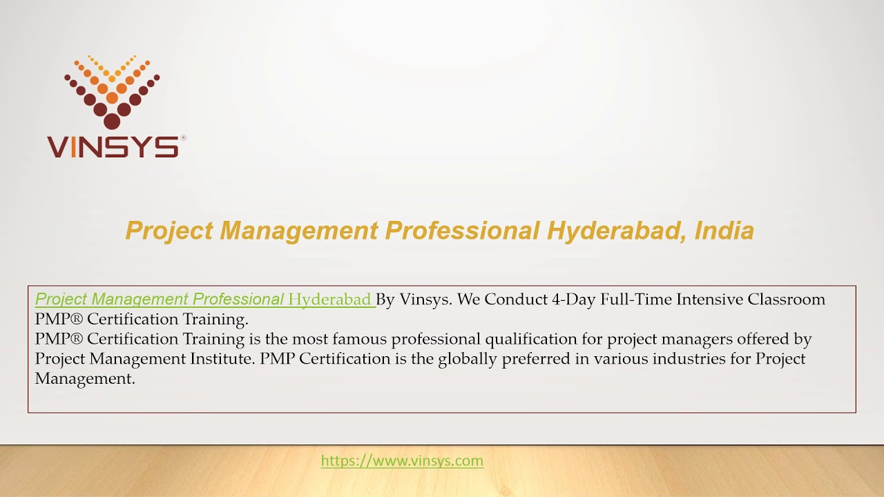 Pmp Certification Training Hyderabad Project Management Professional