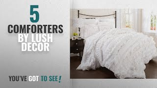 Top 10 Lush Decor Comforters [2018]: Lush Decor Belle 4 Piece Comforter Set, King, White