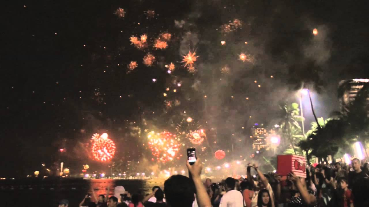 New Years Fireworks Above Pattaya Beach, Thailand  Thai -9443