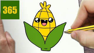 HOW TO DRAW A CORN CUTE, Easy step by step drawing lessons for kids
