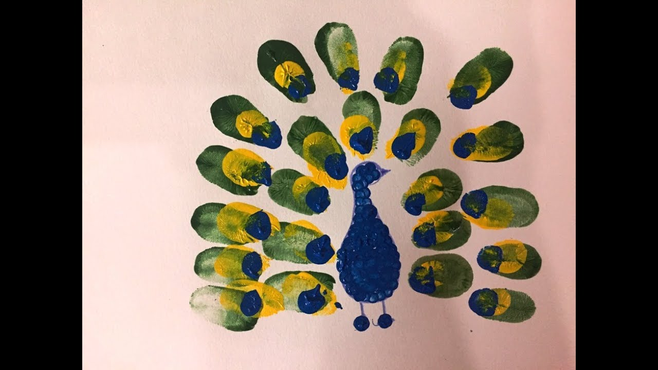 Thumb Painting Finger Print And Ear Bud Peacock Youtube
