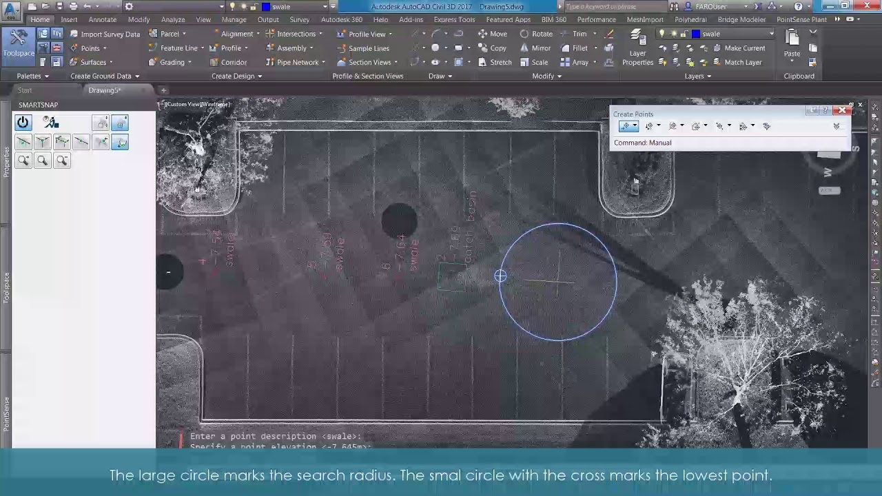 As-Built for AutoCAD Software Key Features-SmartSnap Lowest Point Drainage  Swale
