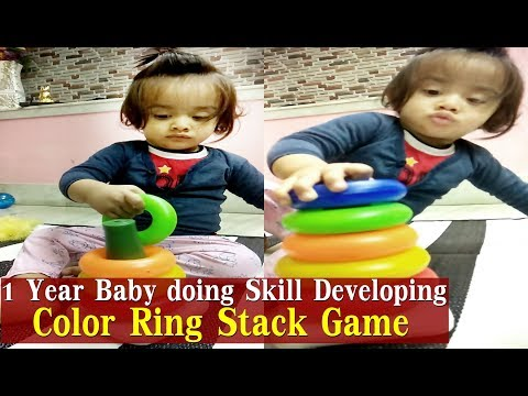 1 Year Baby playing Skill Developing Color Rings Stack Tower   Aarav arranging Ring Stacking Game