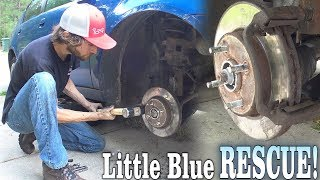 Little Blue GOT RESCUED!!! Fixing Up EXO's 10,000 Watt Car Audio Install w/ Stuck On RUSTED Rotors