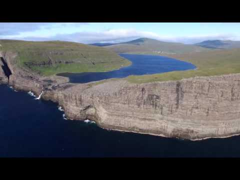 Sørvágsvatn Lake and Bøsdalafossur Waterfall in the Faroe Islands - Aerial Tour
