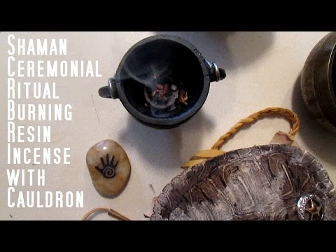 SHAMAN CEREMONIAL RITUAL BURNING RESIN INCENSE WITH CAULDRON