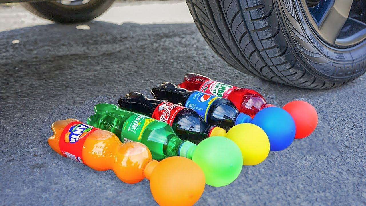 EXPERIMENT: COCA COLA, FANTA, SPRITE WITH BALLOONS VS CAR