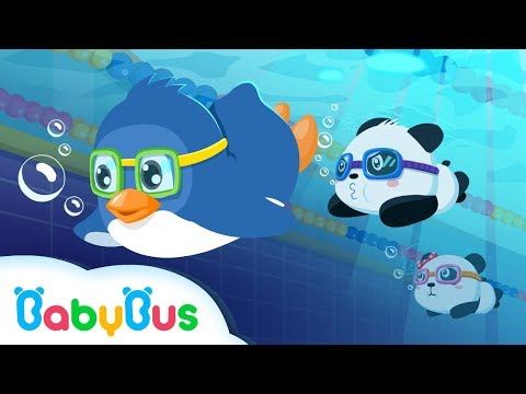 ❤ Panda Sports Games  - Swimming | Animation For Babies | BabyBus