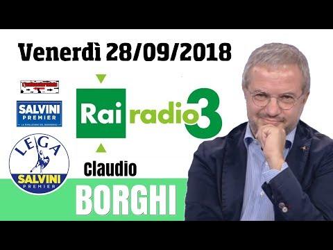 """🔴 Intervista all'on. Claudio Borghi su """"Radio 3"""" (28/09/2018)"""