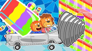 Lion Family 🍨 Journey to the Center of the Earth - Rainbow Ice Cream Drafts | Cartoon for Kids