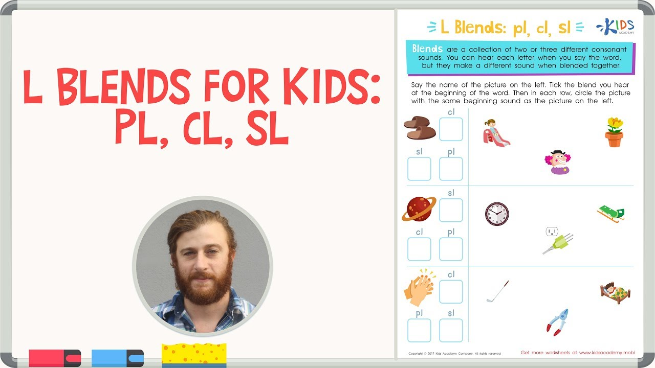 L Blends For Kids Pl Cl Sl 1st Grade Kids Academy Youtube
