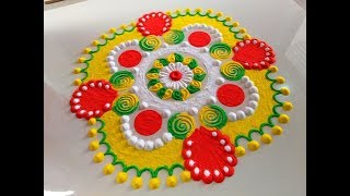 Very easy and different rangoli design