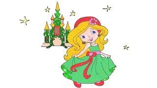 Vẽ và tô màu công chúa và tòa lâu đài   Disney Castle toy coloring and drawing