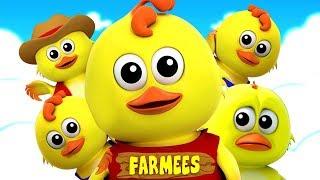 cinco pintinho   canções para crianças   rimas de berçário   Five Little Chick   Farmees Português
