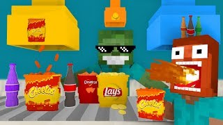 - Monster School WORK AT SNACKS PLACE Minecraft Animation