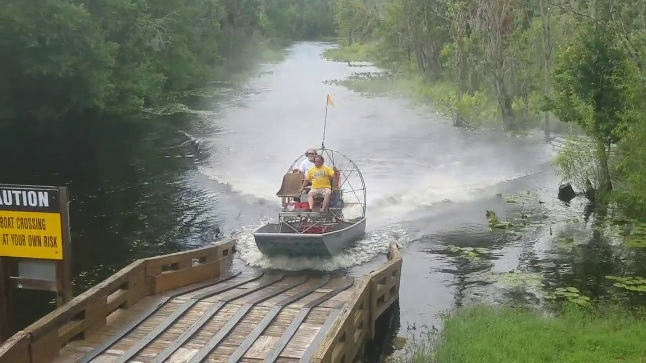Airboating  over the ramp in Inverness Florida