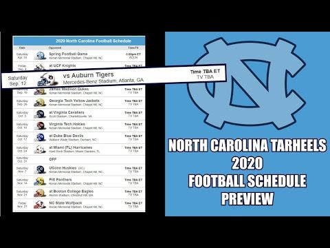 NORTH CAROLINA TARHEELS 2020 FOOTBALL SCHEDULE PREVIEW