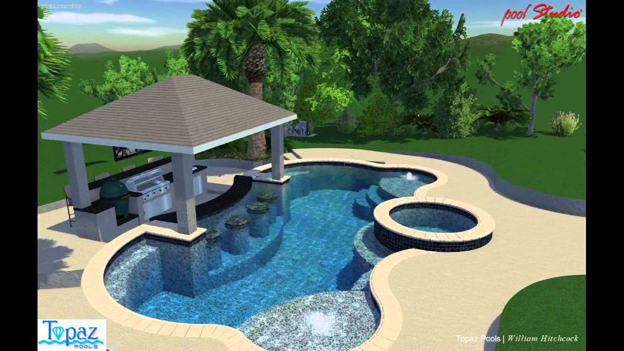 Swim up bar pool youtube for Swimming pool design layout