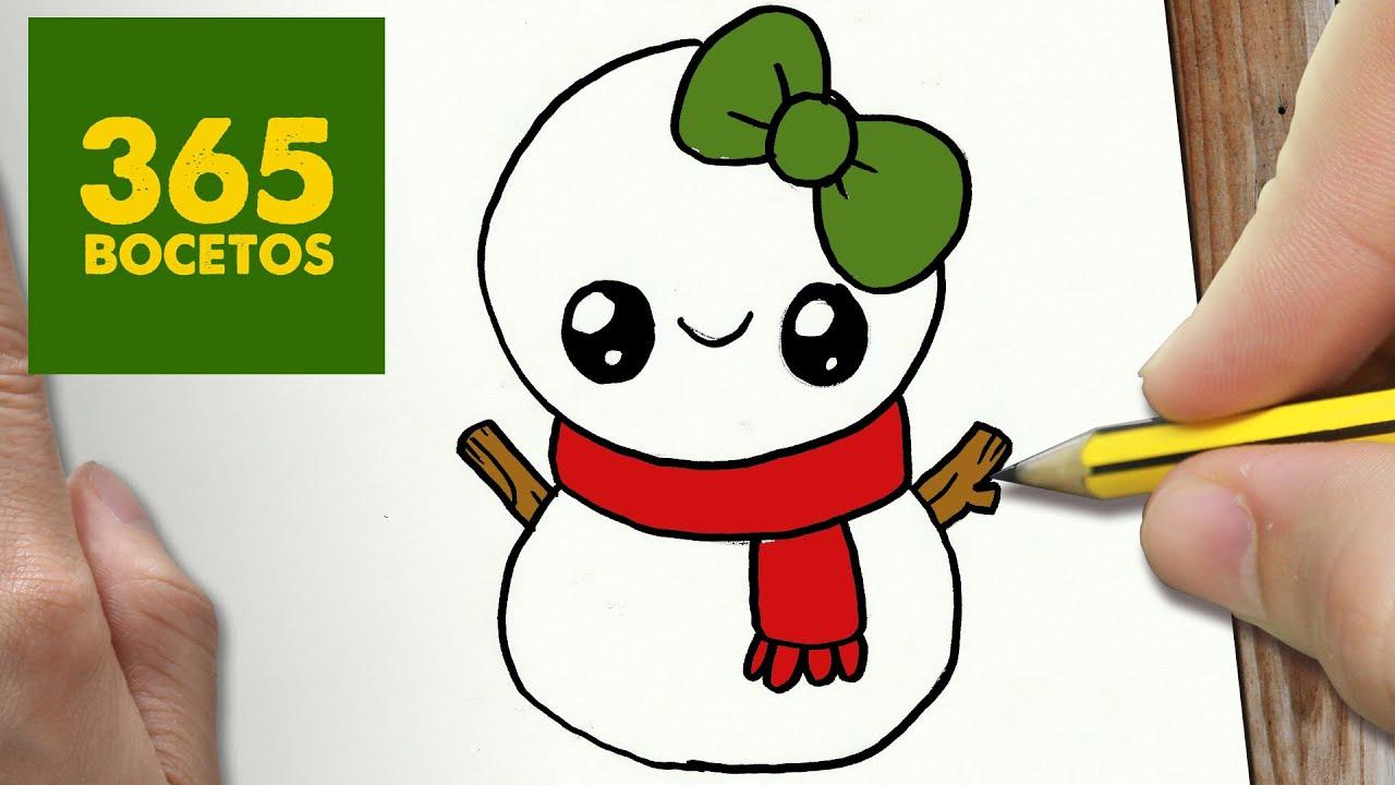 Como dibujar un mu eco de nieve para navidad paso a paso - Munecos de navidad ...