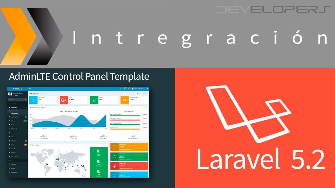 Integración de la plantilla de AdminLTE a Laravel 5.2 - YouTube