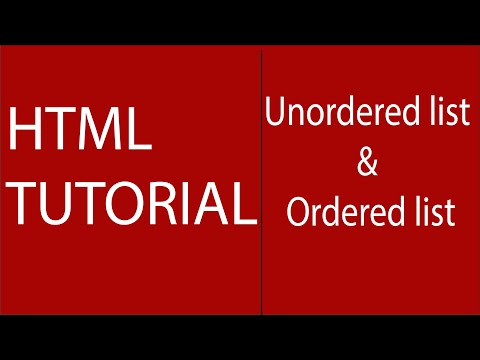 How To Create Unordered Lists And Ordered List In Web Page-HTML Tutorial For Beginners.