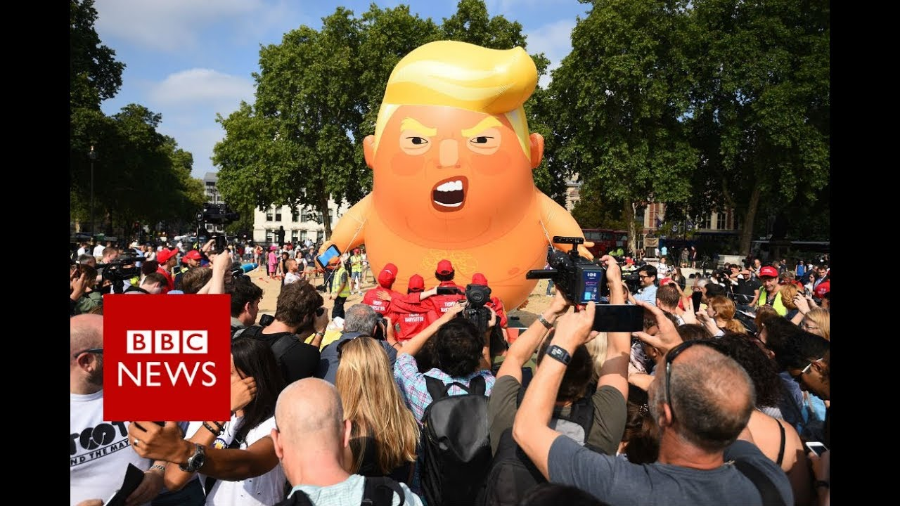 Trump in the UK: Trump blimp is up and away - BBC News