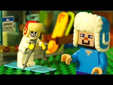 ЗИМА и Лего НУБик Голова КУБИК - LEGO Minecraft Анимация