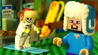 ЗИМА и Лего НУБик Голова КУБИК LEGO Minecraft Анимация