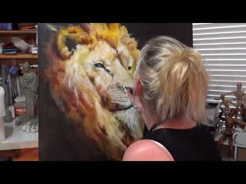 Finger Painting with oils by Laurie Humble - Majestic Lion