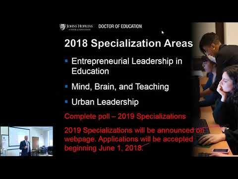 Johns Hopkins School of Education | Doctor of Education | October 2017 Open House