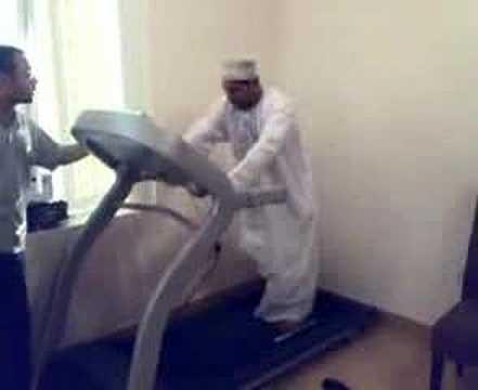 Arab Man on Treadmill.Very funny.