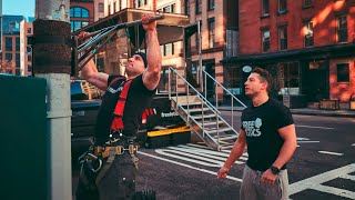Freeletics Workout with Portable Pull-Up and Dip Bar in New York
