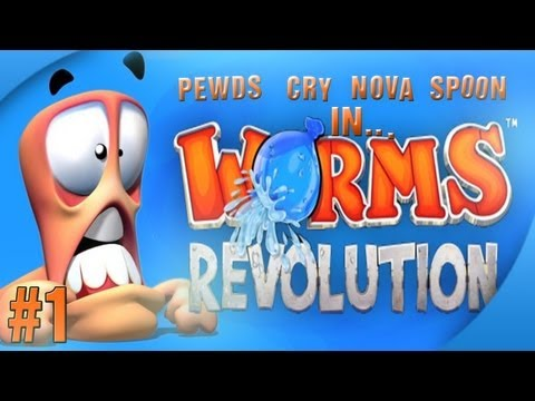Nova / Sp00n / Cry / Pewds - Worms Revolution Part (1) Match (1)