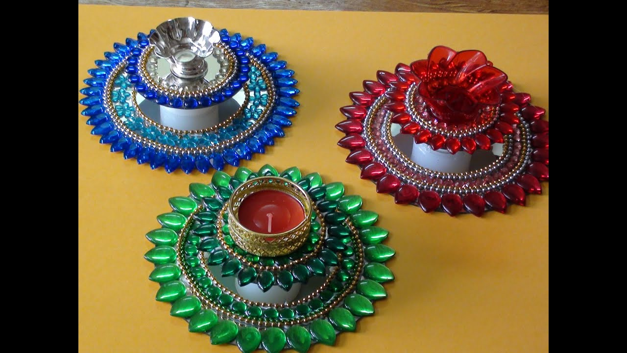 diya decoration with kundan youtube