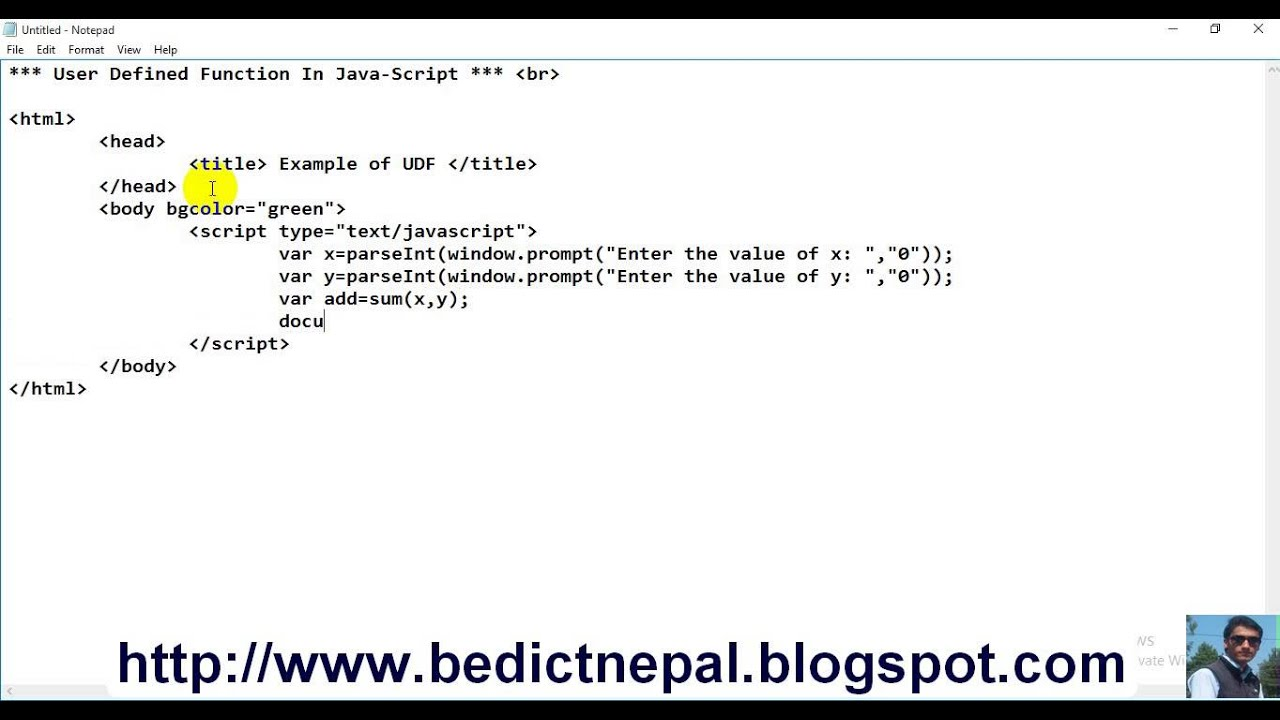 Javascript tutorials user defined function in java script nepali javascript tutorials user defined function in java script nepali by np rijal altavistaventures Images